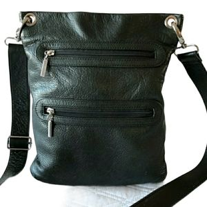 Margot Authentic Black Leather Crossbody Bag